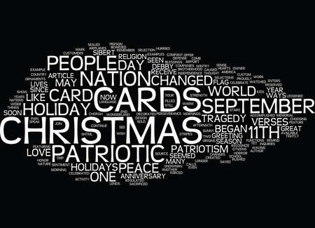 THE EFFFECT OF SEPTEMBER TH ON CHRISTMAS CARDS Text Background Word Cloud Concept Illustration