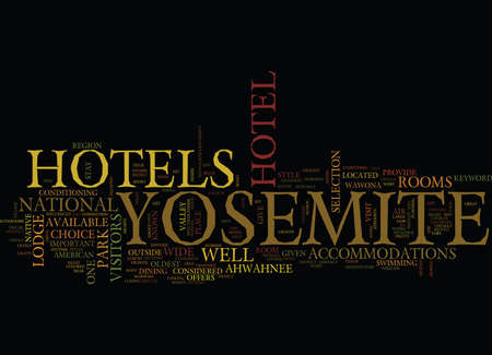 ヨセミテのホテル テキスト背景単語雲概念