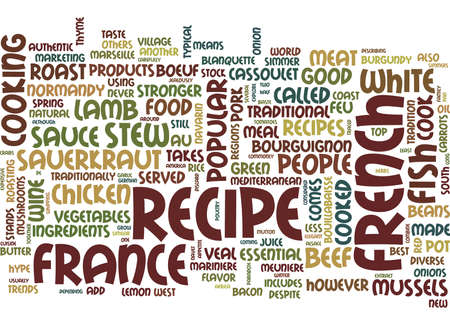 THE MOST POPULAR FRENCH RECIPES Text Background Word Cloud Concept