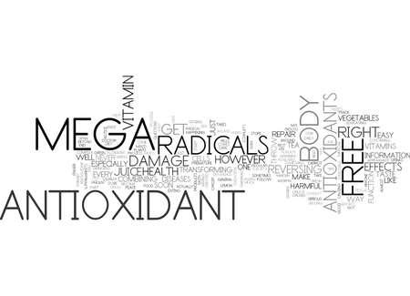 oxidation: THE MEGA ANTIOXIDANT Text Background Word Cloud Concept