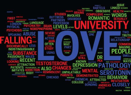 crucial: THE PATHOLOGY OF LOVE Text Background Word Cloud Concept Illustration