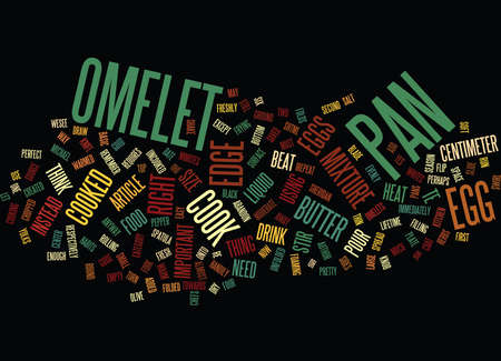 THE PERFECT OMELET TE HOW TO COOK IT Text Background Word Cloud Concept Illusztráció