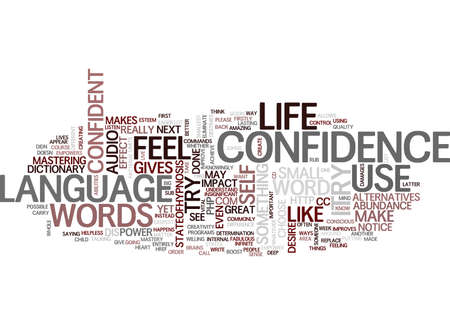THE LANGUAGE OF CONFIDENCE Text Background Word Cloud Concept