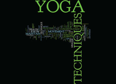 YOGA FOR BEGINNERS Text Background Word Cloud Concept Illustration