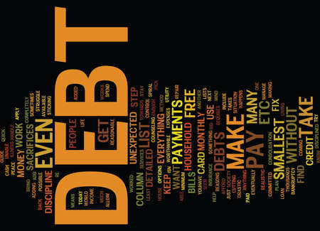 YOUR GUIDE ON HOW TO BE DEBT FREE Text Background Word Cloud Concept