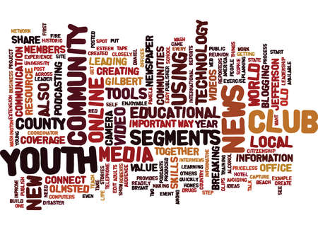 YOUTH CONNECT COMMUNITIES WITH NEW TECHNOLOGY Text Background word cloud concept Çizim