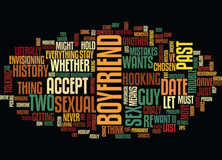 envisioning: YOUR SEXUAL PAST DOES IT BOTHER YOUR BOYFRIEND Text Background word cloud concept