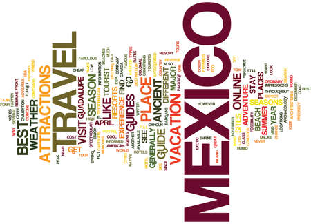 YOUR WAY TO MEXICO A TRAVEL GUIDE Text Background word cloud concept