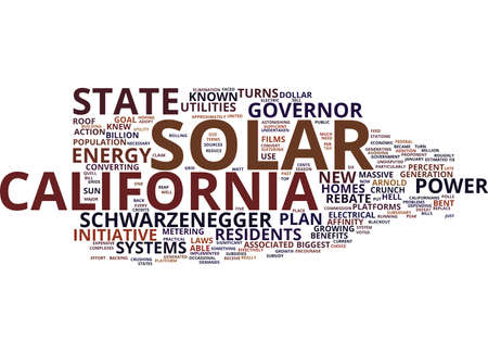 GOVERNOR SCHWARZENEGGER TURNS CALIFORNIA TO SOLAR ROOF SYSTEMS Text Background word cloud concept