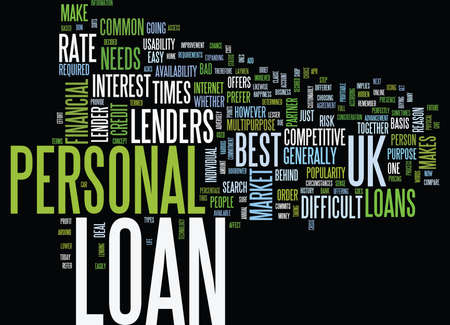 YOUR FINANCIAL PARTNER PERSONAL LOAN UK Text Background word cloud concept