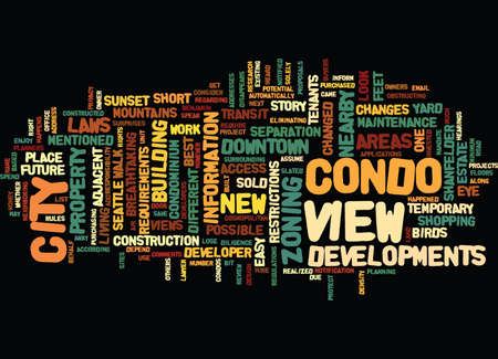 YOUR CONDO VIEW ENJOY IT WHILE YOU CAN Text Background word cloud concept Vettoriali