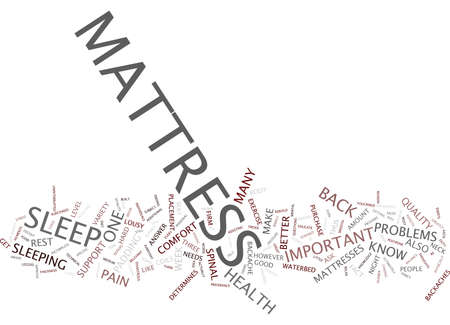 make known: YOUR MATTRESS CAN MAKE OR BREAK YOU Text Background word cloud concept