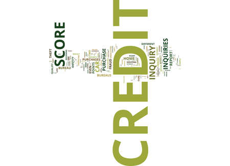 YOUR CREDIT SCORE CAN BE DESTROYED BY SIMPLE CREDIT INQUIRIES Text Background Word Cloud Concept Illustration