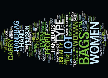 YOUR HANDBAG CAN SAY A LOT ABOUT YOU Text Background word cloud concept