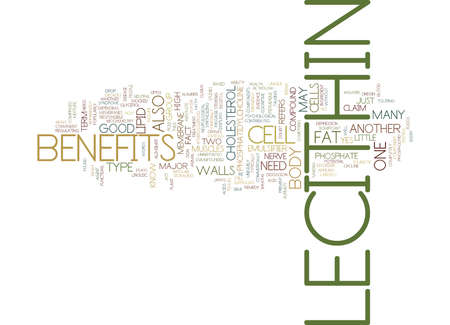 LECITHIN BENEFITS Text Background word cloud concept