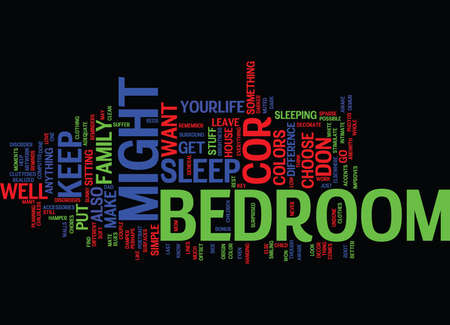 BEDROOM FURNITURE MAKE YOUR OWN PERSONAL STATEMENT Text Background word cloud concept Ilustração