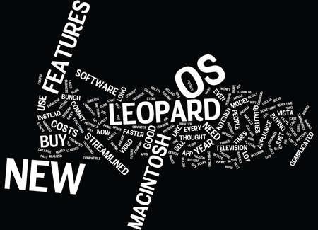 LEOPARD MACINTOSH OS Text Background Word Cloud Concept Ilustração