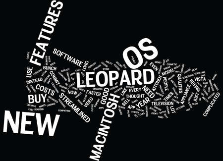 LEOPARD MACINTOSH OS Text Background Word Cloud Concept Illustration