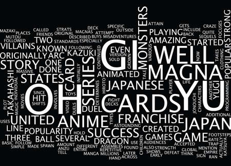 YU GI OH Text Background word cloud concept