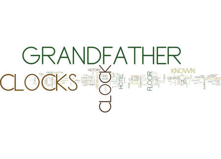 GRANDFATHER CLOCKS A BRIEF HISTORY Text Background word cloud concept
