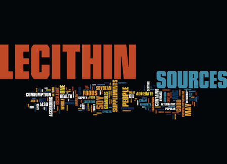 LECITHIN SOURCES Text Background word cloud concept