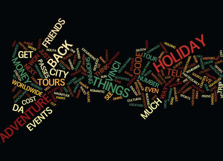 YOUR OWN ADVENTURE ON THE TRAIL OF THE DA VINCI CODE Text Background word cloud concept Illustration