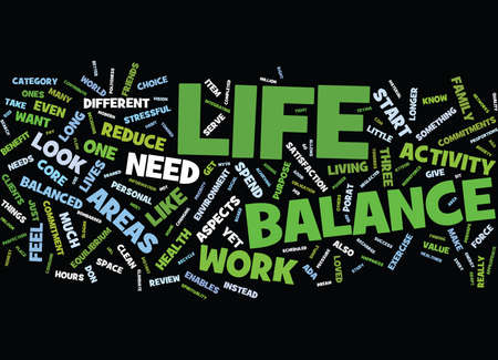 LIFE BALANCE MASTERY OR MYTH Text Background Word Cloud Concept