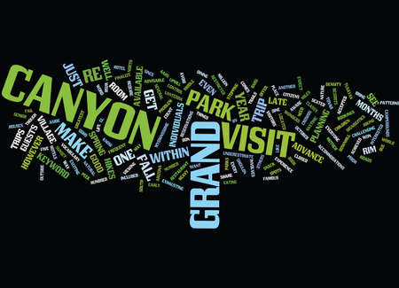 GRAND CANYON VISIT Text Background word cloud concept Illustration