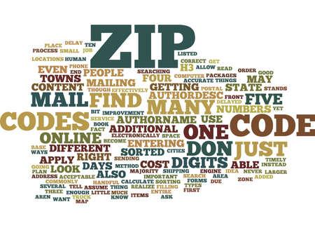 ZIP CODES Text Background Word Cloud Concept