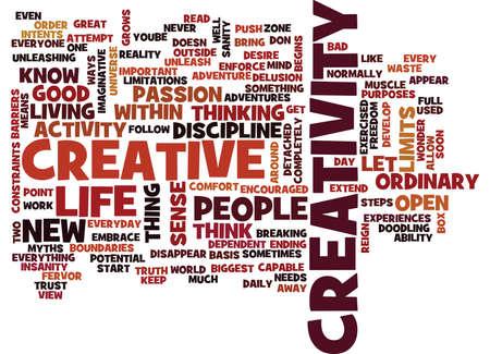 LET CREATIVITY REIGN Text Background Word Cloud Concept