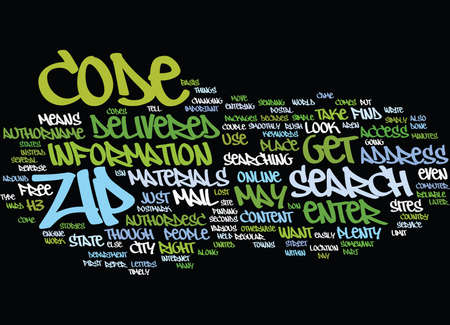ZIP CODE SEARCH Text Background Word Cloud Concept