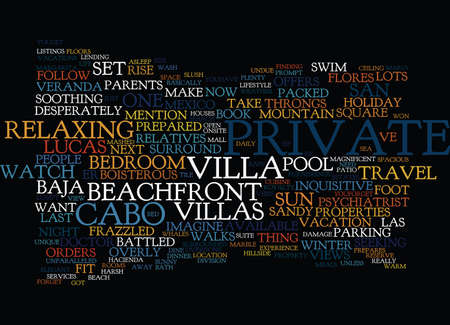 YOUR OWN PRIVATE PARADISE Text Background Word Cloud Concept Illustration