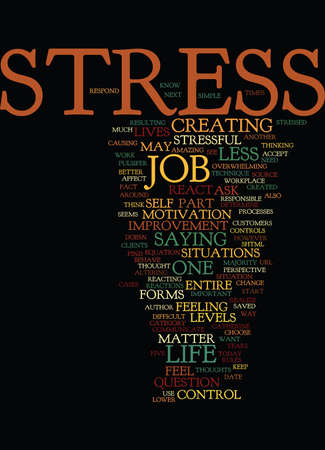YOUR WORK AND YOUR STRESS Text Background Word Cloud Concept Illustration