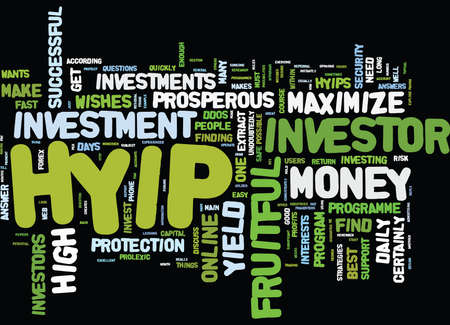 YOUR STEPS TO MAXIMIZE YOUR HYIP Text Background Word Cloud Concept