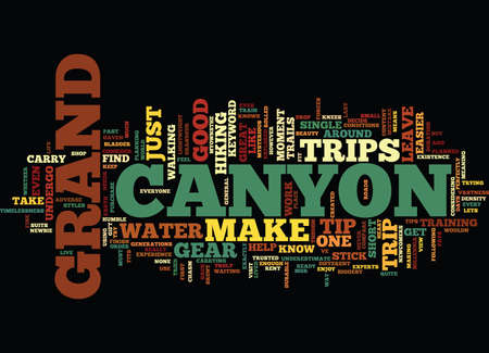 GRAND CANYON TRIPS Text Background word cloud concept