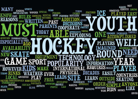 YOUTH HOCKEY IN THE MODERN AGE Text Background Word Cloud Concept Çizim