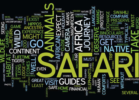 YOUR SAFE VISIT TO THE WILDS OF AFRICA Text Background Word Cloud Concept