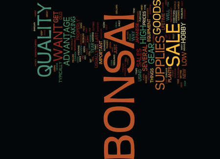 GRAB A BONSAI BARGAIN IN THE SALES Text Background Word Cloud Concept