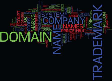 JURIDISCHE KWESTIES OVER HANDELSMERKEN EN DOMEINNAMEN Tekstachtergrond Word Cloud Concept Stock Illustratie