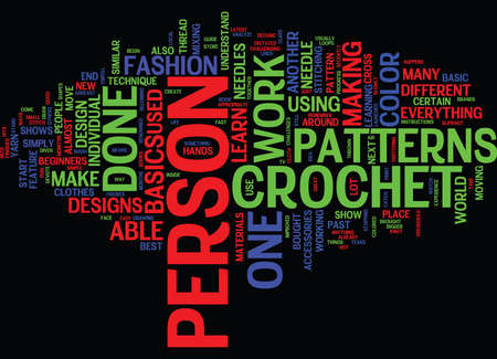 mostly: BEGINNER CROCHET Text Background Word Cloud Concept Illustration
