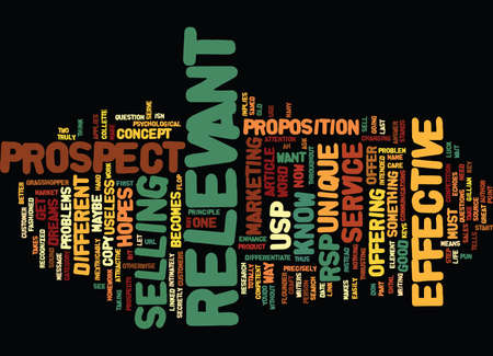 YOUR USP IS USELESS Text Background Word Cloud Concept Illustration