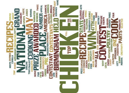 YOUR CHICKEN RECIPE COULD WIN Text Background Word Cloud Concept Illustration