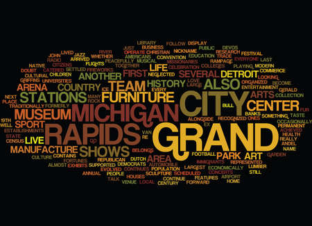 GRAND RAPIDS MICHIGAN Text Background Word Cloud Concept