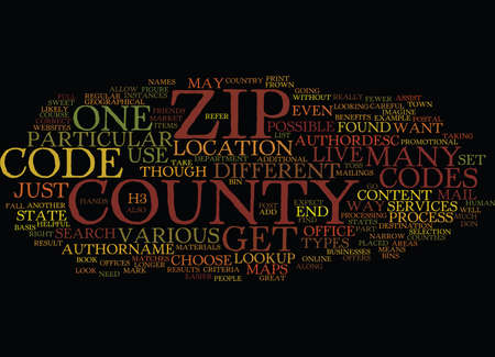 ZIP CODE COUNTY LOOKUP Text Background Word Cloud Concept