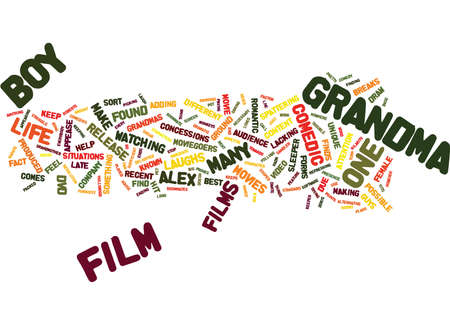 dvd: GRANDMAS BOY PACKED WITH LAUGHS Text Background Word Cloud Concept Illustration