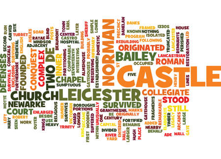 comparable: LEICESTER CASTLE Text Background Word Cloud Concept