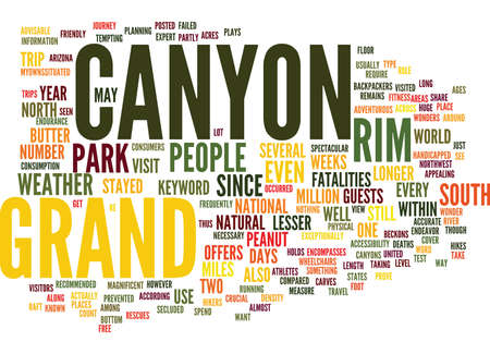 GRAND CANYON Text Background Word Cloud Concept