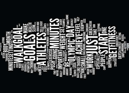 LESSONS ON FITNESS FROM OLYMPIC ATHLETES Text Background Word Cloud Concept