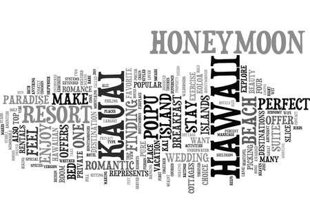 Jouw huwelijksreis in KAUAI Tekstachtergrond Word Cloud Concept