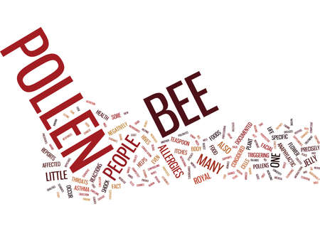 BEE POLLEN SUPPLEMENTS Tekst Achtergrond Word Cloud Concept